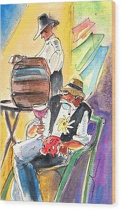Drinking Wine In Lanzarote Wood Print by Miki De Goodaboom