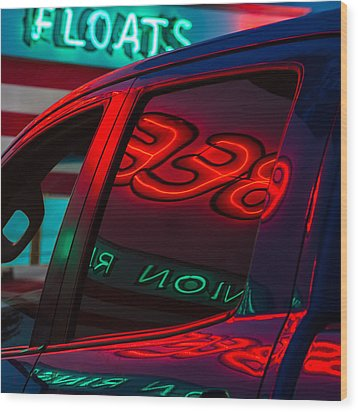 Drive In Diner Wood Print by Joan Herwig