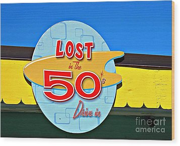 Drive-in Diner Sign Wood Print by Ethna Gillespie