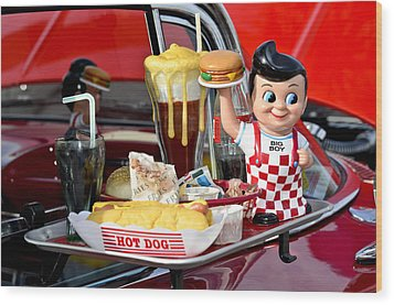 Drive-in Food Classic Wood Print