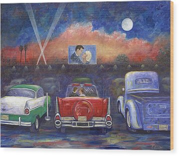 Drive-in Movie Theater Wood Print by Linda Mears