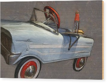 Drive In Pedal Car Wood Print by Michelle Calkins
