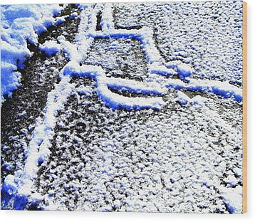 Driveway Frost Wood Print by Mike McCool