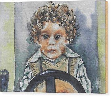Driving The Taxi Wood Print by Chrisann Ellis
