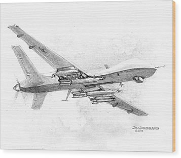 Wood Print featuring the drawing Drone Mq-9 Reaper by Jim Hubbard