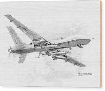 Drone Mq-9 Reaper Wood Print