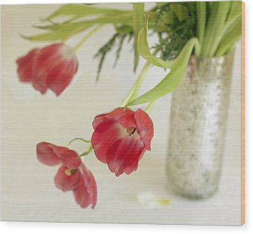 Wood Print featuring the photograph Drooping Tulips by Rosemary Aubut