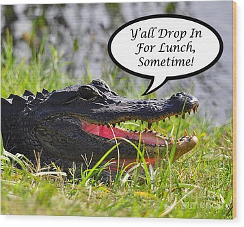 Drop In For Lunch Greeting Card Wood Print by Al Powell Photography USA
