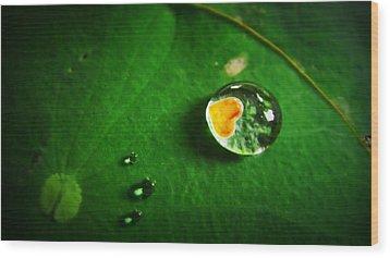 Droplet Of Love Wood Print by Suradej Chuephanich