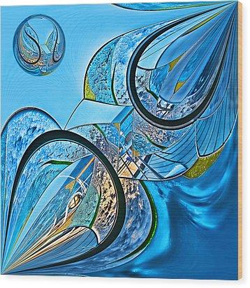 Blue Fantasy Wood Print