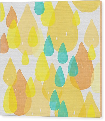 Drops Of Sunshine- Abstract Painting Wood Print by Linda Woods