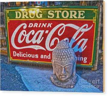 Drug Store Buddha Wood Print by Gregory Dyer