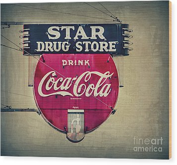 Drug Store Neon Wood Print by Perry Webster