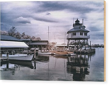 Drum Point In Infrared Watercolor Wood Print