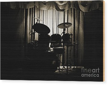 Drum Set On Stage Photograph Combo Jazz Sepia 3234.01 Wood Print by M K  Miller
