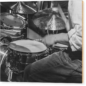 Drummer At Work Wood Print