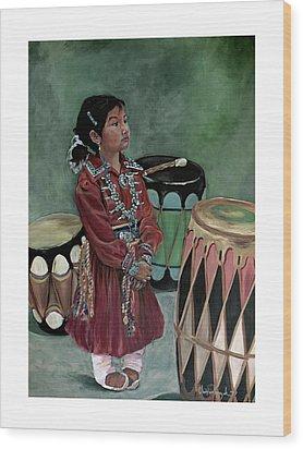 Drummer Girl Wood Print