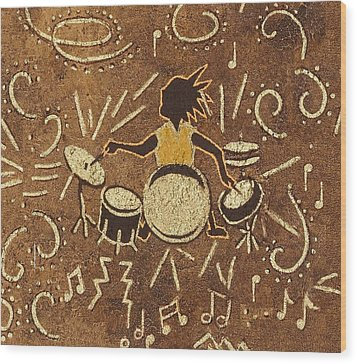 Drummer Wood Print by Katherine Young-Beck