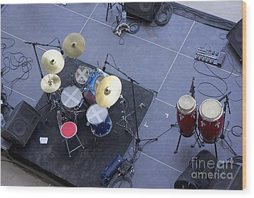 Drums Percussion And Monitors On Stage Wood Print by Sami Sarkis