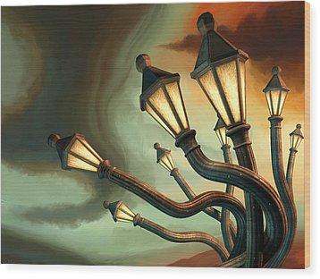 Drunk Streetlamps Wood Print by Remus Brailoiu