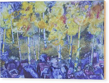 Dry Creek Aspens Wood Print