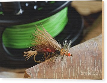 Dry Fly - D003399b Wood Print by Daniel Dempster