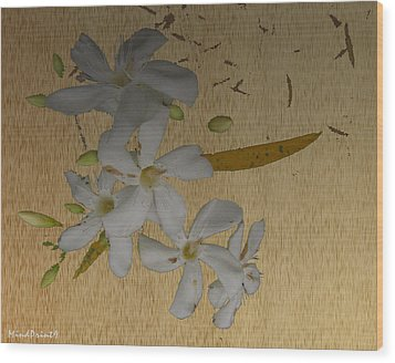 Wood Print featuring the digital art Dry Leaves And Fowers by Asok Mukhopadhyay