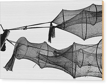 Drying Fishing Trap Nets On Poles Wood Print by Niels Quist