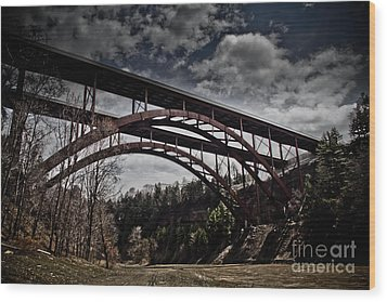 Wood Print featuring the photograph Dual Arched Bridge by Jim Lepard