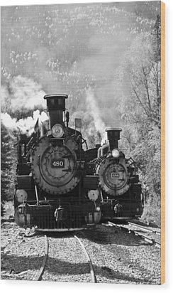 Dual Steam Engines Wood Print