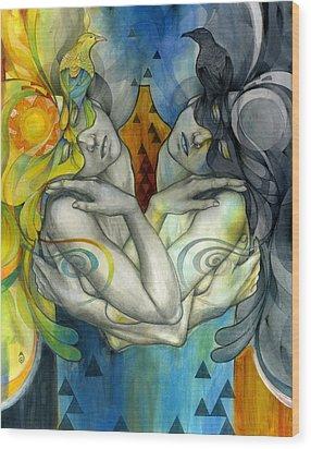 Duality Wood Print by Patricia Ariel