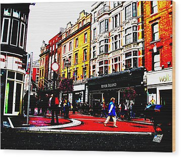 Dublin City Vibe Wood Print by Charlie and Norma Brock