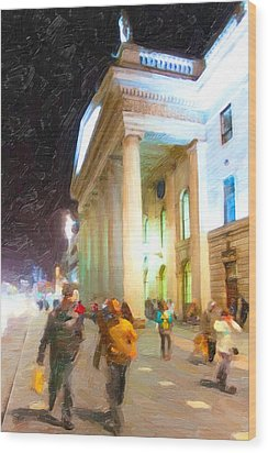 Dublin Ireland Post Office At Night Wood Print by Mark E Tisdale