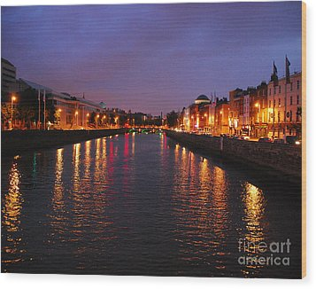 Wood Print featuring the photograph Dublin Nights by Mary Carol Story