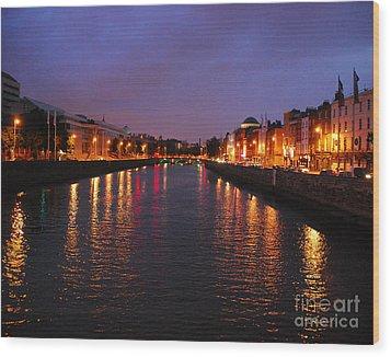 Dublin Nights Wood Print by Mary Carol Story