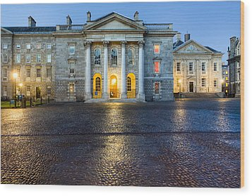 Dublin Trinity College Chapel At Night Wood Print by Mark E Tisdale