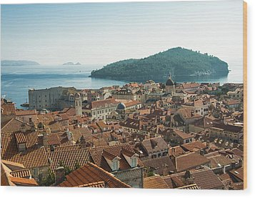 Dubrovnik View To The Sea Wood Print by Phyllis Peterson