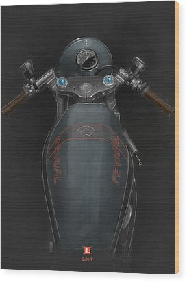 Wood Print featuring the drawing Ducati by Jeremy Lacy