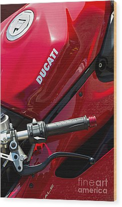 Ducati Red Wood Print by Tim Gainey