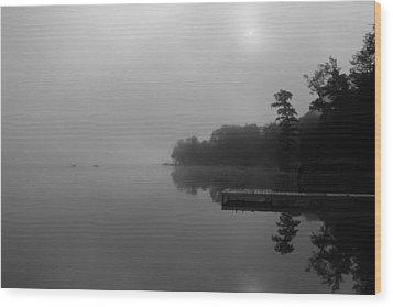 Duck Harbor Early Morning Fog Wood Print by Patsy Zedar