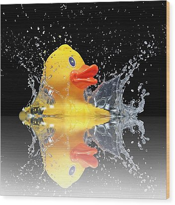 Yellow Duck Wood Print