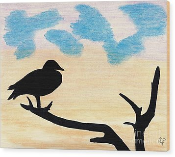 Wood Print featuring the drawing Duck Sunset by D Hackett