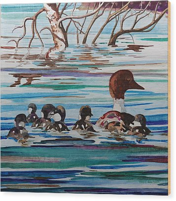 Ducks In A Row Wood Print by Terry Holliday