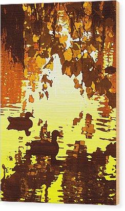 Ducks On Red Lake B Wood Print by Amy Vangsgard