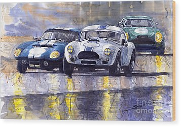 Duel Ac Cobra And Shelby Daytona Coupe 1965 Wood Print by Yuriy  Shevchuk