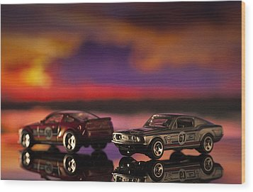 Dueling Mustangs Wood Print