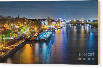 Duisburg Rhine East Bank Dammst Wood Print