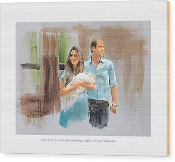 Duke And Duchess Of Cambridge With Their New Son Wood Print by Roger Lighterness