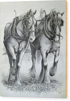 Wood Print featuring the drawing Duke And Molly by Carol Hart