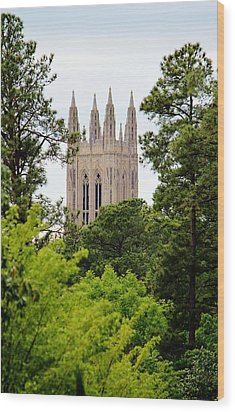 Duke Chapel Wood Print by Cynthia Guinn